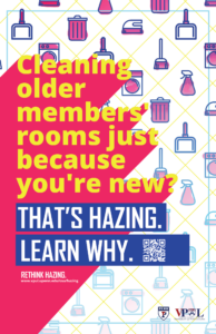 Poster with text about cleaning older members rooms